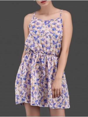 Spaghetti Strap Blue Floral Print Short Beach Dresses