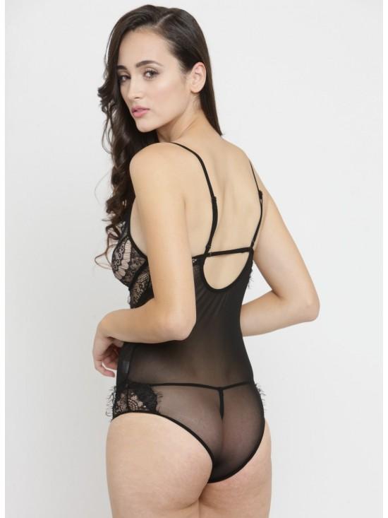 9941482dd Women s Black Sheer Hollow Lace Teddy Lingerie Babydoll One Piece Bodysuit  Nightwear-Sexy Nightwear