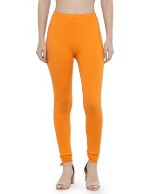 Best Premium Quality Plain Orange Cotton Lycra Churidar Leggings