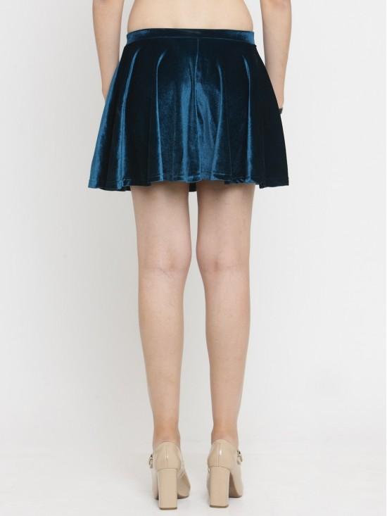 Low Waist Seamless Blue Velvet Short Mini Skirt-Bottom Wear | N-Gal
