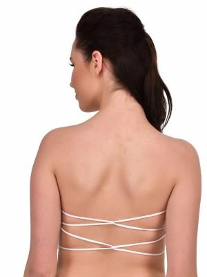 Women Lace No-Strap Cross Cut Out Padded Bra