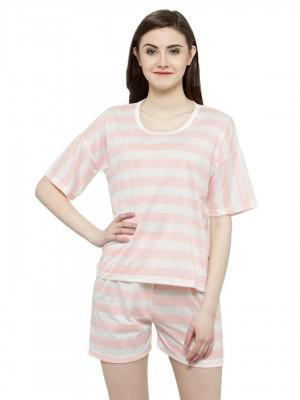 Short Sleeves White Striped Top & Short Sleepwear Nightwear Lounge Sets