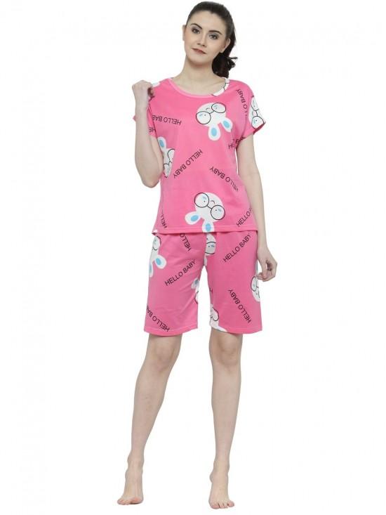0943c41a8fe7 Women Short Sleeves Cute Hello Baby Pattern Pink Top Capri Set Loungewear Nightwear  Night suit-