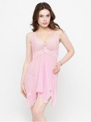 Asymmetrical Sheer Pink Babydoll Dress Nightwear with G-String