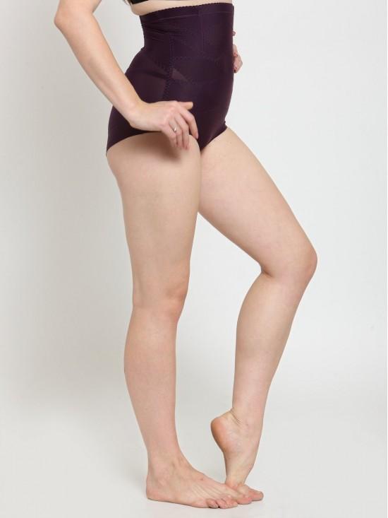 Solid Wire No Rolling Down High Waist Purple Tummy Tucker Brief Shapewear-Body Shapewear   N-Gal